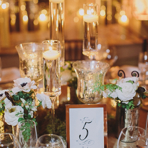Greenery and candle centerpiece