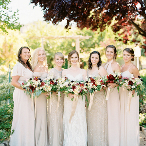 Champagne and gold mismatched bridesmaids