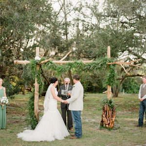 Handmade wood ceremony arch