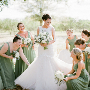Bridesmaids in sage gowns