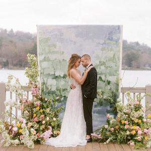 Painted wedding backdrop