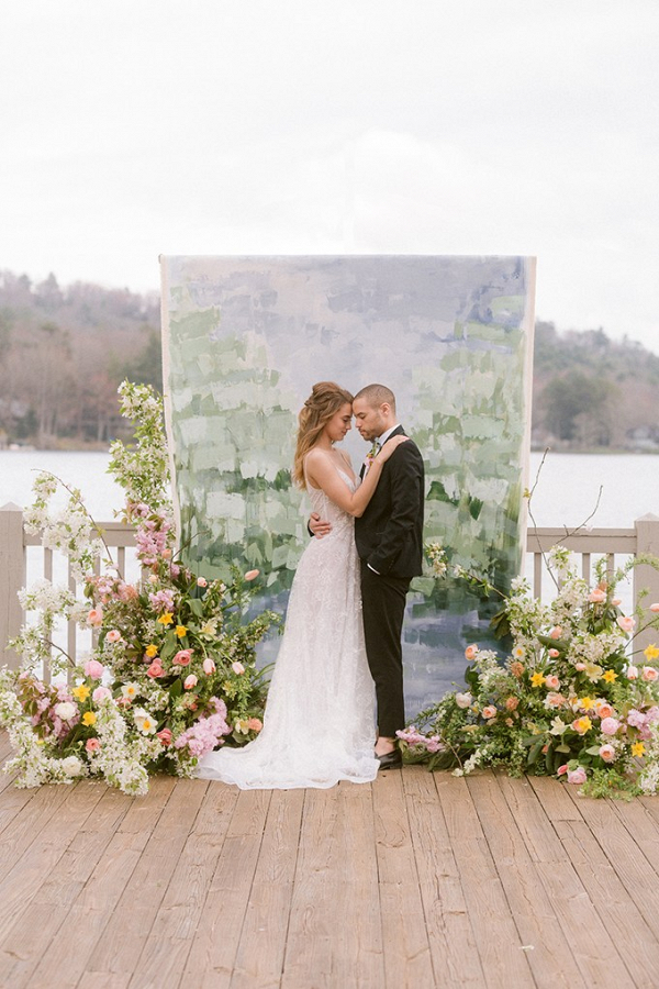 Painted wedding backdrop