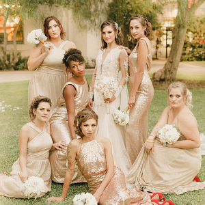 Bridesmaids in mismatched gold sequin bridesmaid dresses