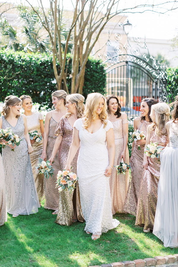 Bridesmaids in mismatched sequin metallic dresses