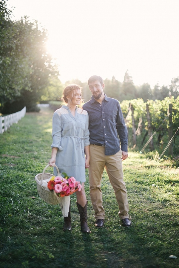 Romantic farm engagement on Glamour & Grace