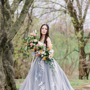 bride in a blue ballgown wedding dress