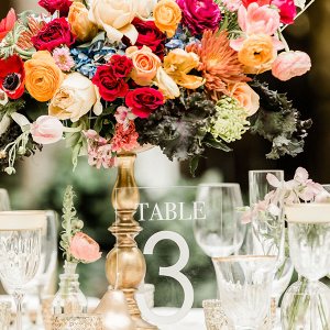 gold and colorful floral centerpiece