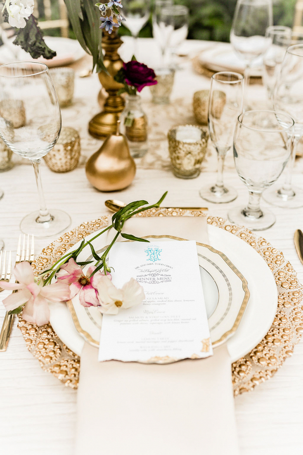 gold styled place setting