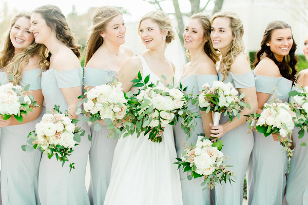 Light blue/grey bridesmaid dresses