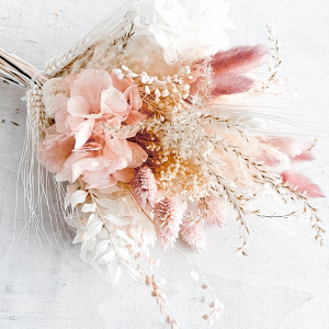 blush and white dried flower bouquet
