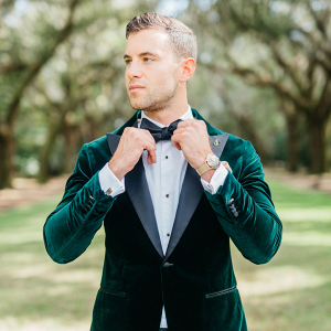 velvet green groom jacket
