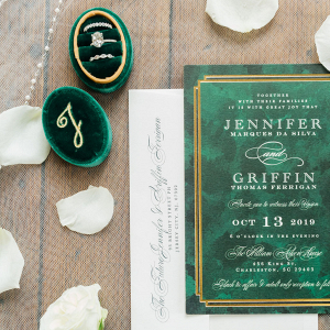 emerald green ring box and art deco invitations