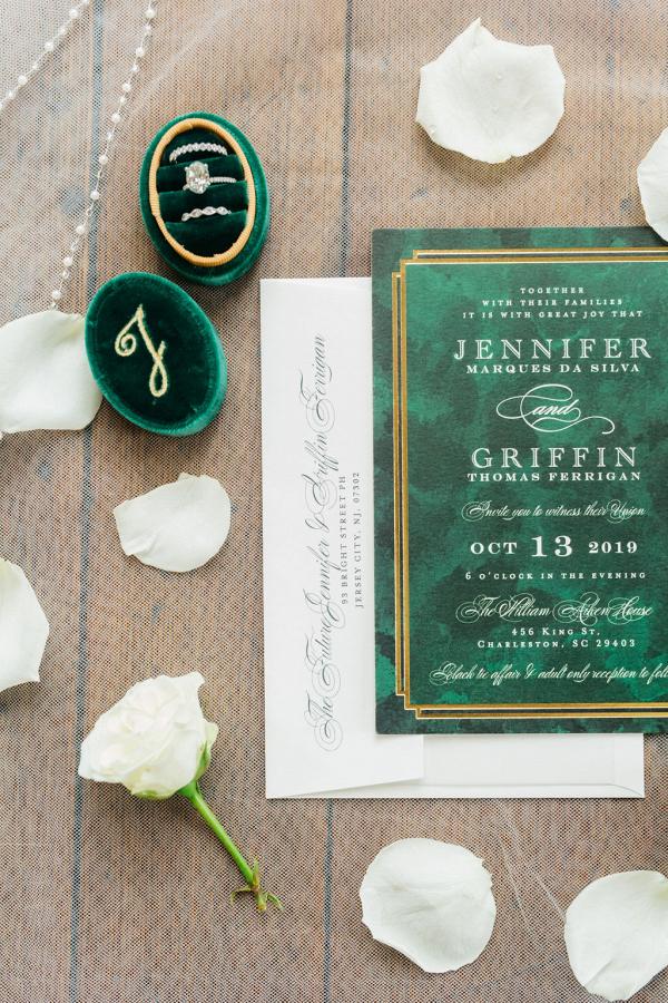 emerald green ring box and art deco invitations