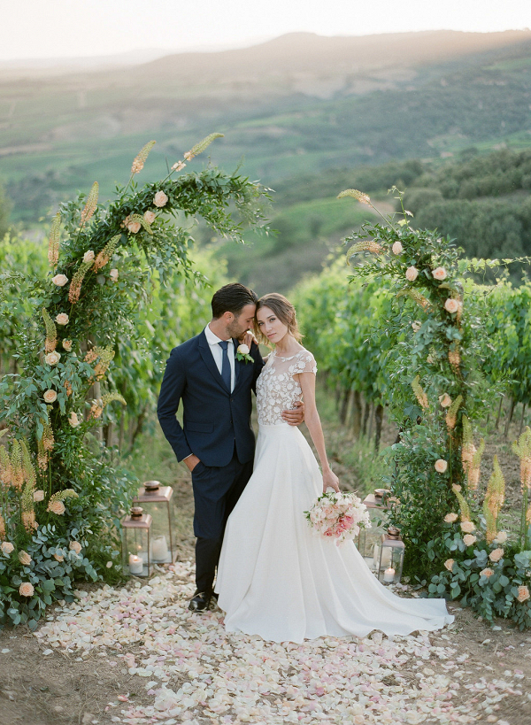 Tuscan ceremony backdrop