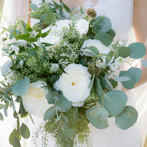 white rose and eucalyptus bridal bouquet