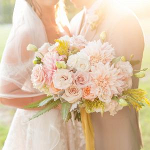 Stunning bouquet in golden sunlight