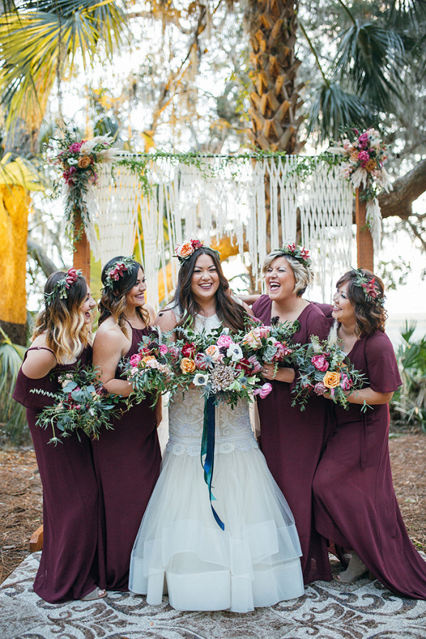 Individual Bohemian Maxi Bridesmaid Dresses in Burgundy