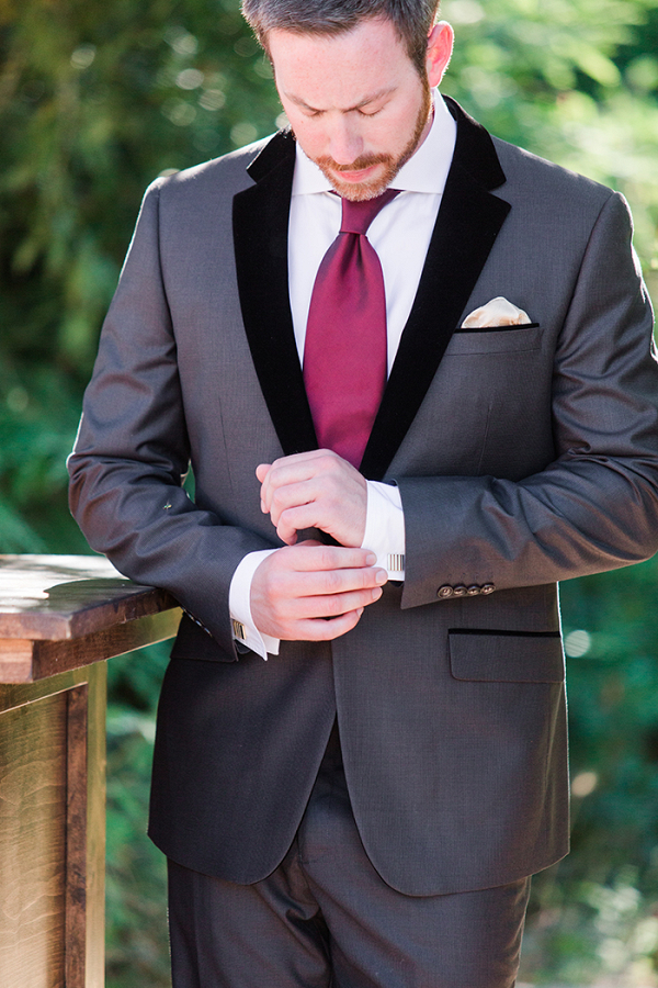 Luxe Charcoal and Garnet Groom's Attire
