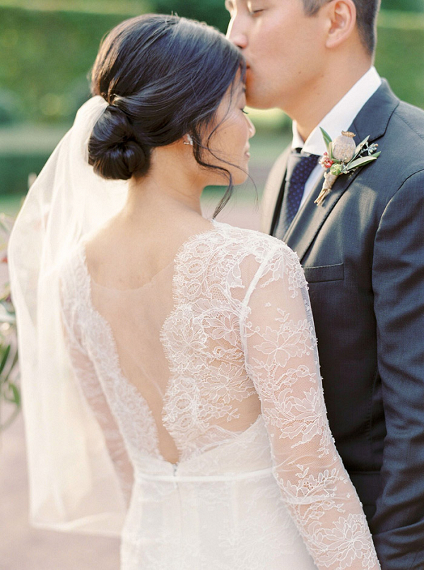 Romantic Low Back Wedding Dress Made by the Bride's Mother