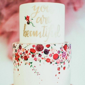 Colorful Floral Print Cake with Gold Calligraphy