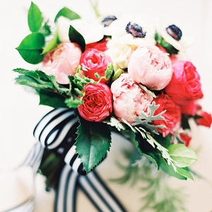 Stunning Blush and Bright Pink Bouquet with Black and White Striped Ribbons