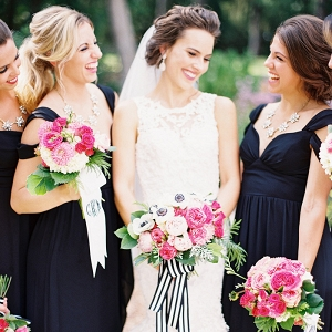 Black Tie Bridesmaids with Fun and Preppy Pink Bouquets