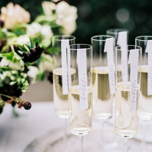 Modern Champagne Flutes with Calligraphy Escort Cards