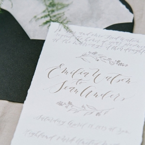 Delicate Black and White Calligraphy Invitation
