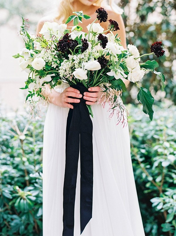 Organic Black and White Bouquet with Trailing Ribbons