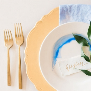 Handmade Dip Dyed Napkins and Watercolor Place Settings