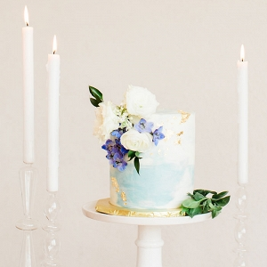 Blue and Gold Watercolor Wedding Cake