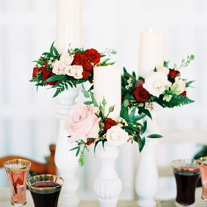 Rustic Centerpieces with Floral Wreaths around Pillar Candles