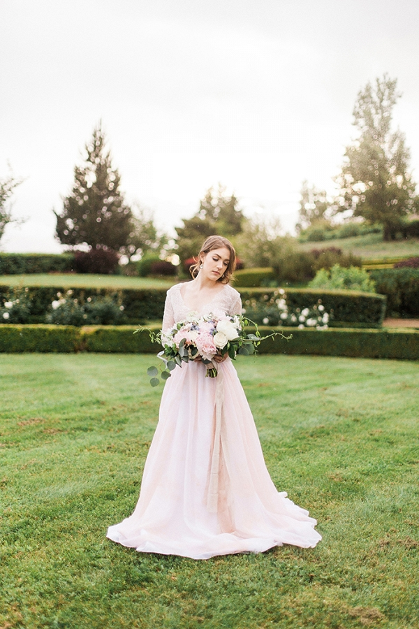 Romantic Blushing Bridal Style Shoot with a Pink Wedding Dress