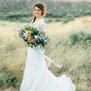 Magic Hour Bridal Portraits with a Colorful Bouquet