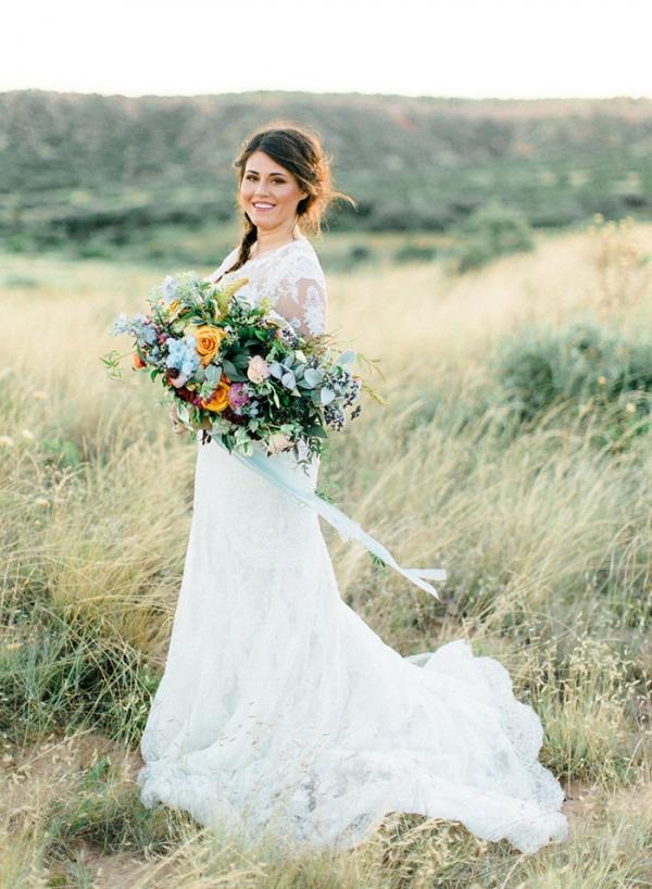 Magic Hour Bridal Portraits with a Colorful Bouquet