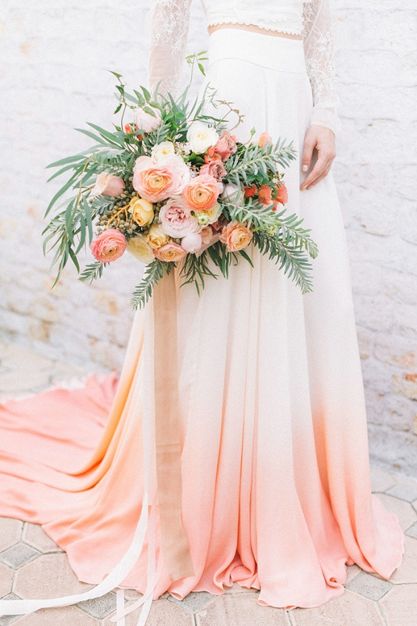 Custom Dip Dye Wedding Dress with Peach and Coral Flowers