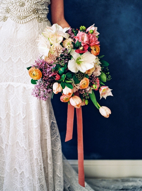 Colorful Bridal Bouquet with an Embellished Lace Wedding Dress