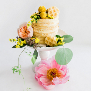 Petite Waffle Cake with Fresh Spring Flowers