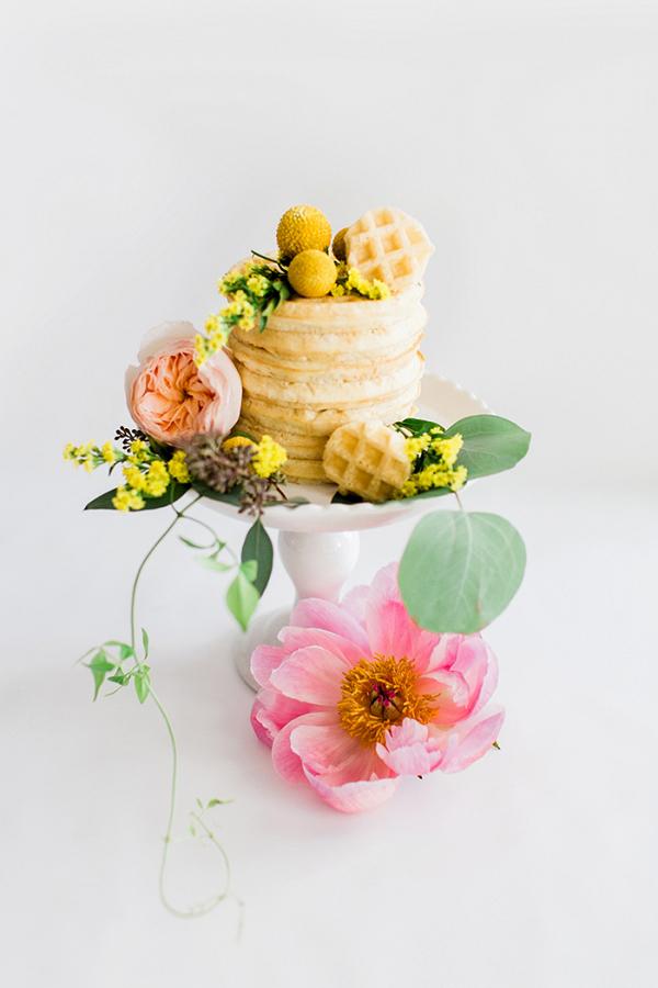 Petite Waffle Cake with Fresh Spring Flowers