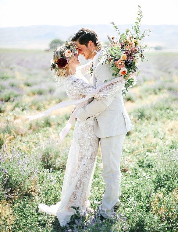 Romantic Bohemian Wedding Portraits in a Field of Wildflowers