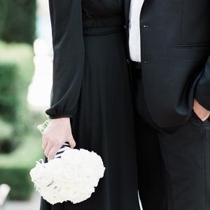 Stylish Black and White Engagement Attire