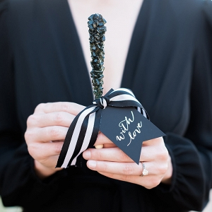 Chic Black and White Striped Details for Modern Engagement Photos