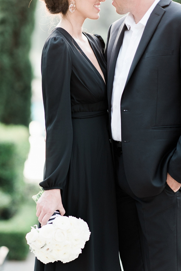 Stylish Black and White Engagement Attire