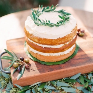 Rustic Naked Cake with an Olive Wreath Topper