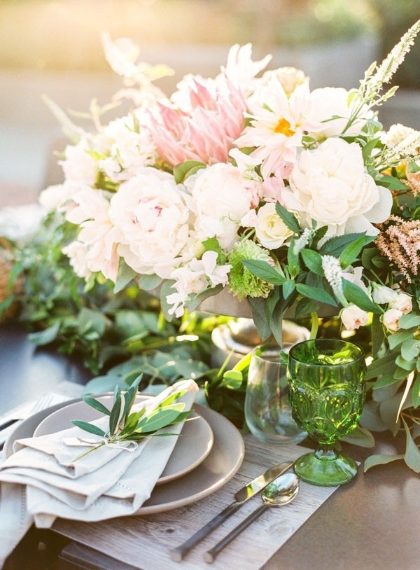 Natural and Organic Place Setting with a Summer Centerpiece