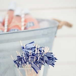 Nautical Blue and White Striped Drink Stirrers for a Bellini Bar