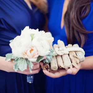 Bridesmaids with Spring Flowers and a Driftwood Ring Pillow