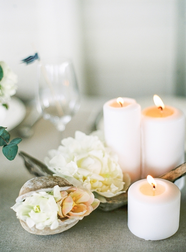 Shells, Flowers, and Candles for a Romantic Nautical Wedding