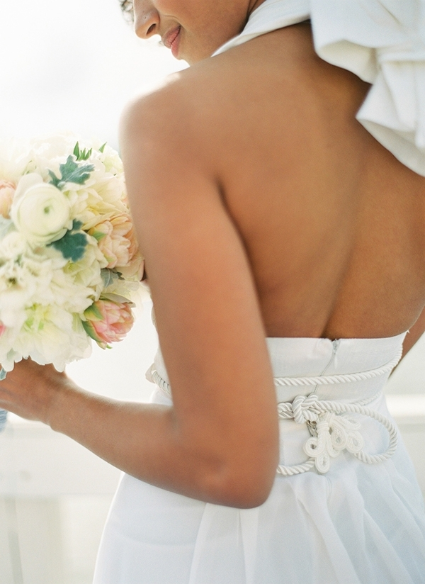 Backless Halter Wedding Dress with a Nautical Rope Belt