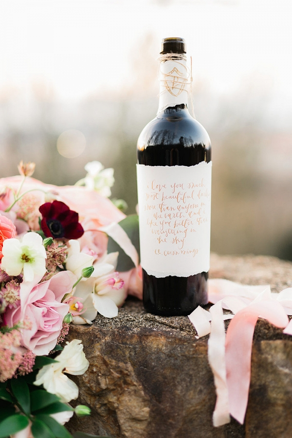 Wedding Vows Written on a Wine Bottle for the First Anniversary